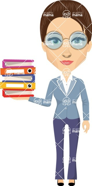 Vector graphic creation kit - all kinds of office women, with different duties, personalities, clothes, hair, accessories. Make a woman creation pack - Pose 9