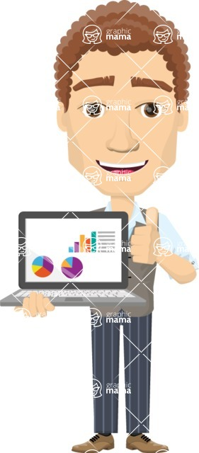 Vector graphic creation kit - all kinds of office men, with different duties, personalities, clothes, hair, accessories - Man presenting with laptop