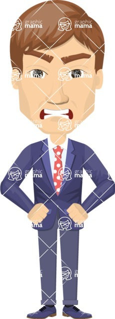 Vector graphic creation kit - all kinds of office men, with different duties, personalities, clothes, hair, accessories - Angry Businessman