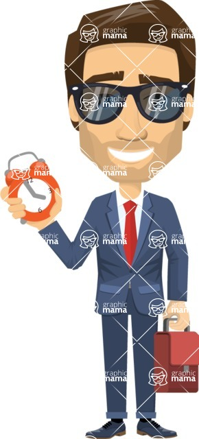 Vector graphic creation kit - all kinds of office men, with different duties, personalities, clothes, hair, accessories - Worker with a Clock