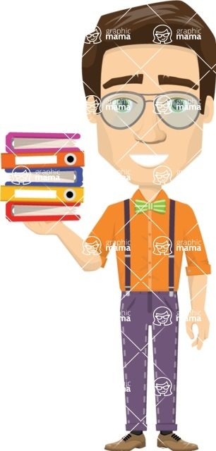 Vector graphic creation kit - all kinds of office men, with different duties, personalities, clothes, hair, accessories - Man with papers