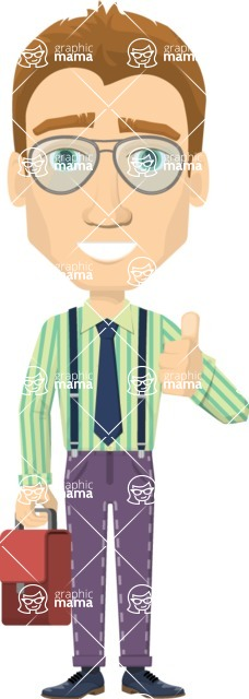 Vector graphic creation kit - all kinds of office men, with different duties, personalities, clothes, hair, accessories - Happy businessman