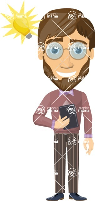 Vector graphic creation kit - all kinds of office men, with different duties, personalities, clothes, hair, accessories - Businessman with a smartphone