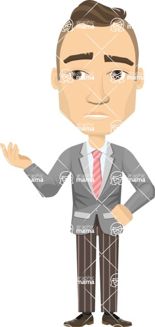 Vector graphic creation kit - all kinds of office men, with different duties, personalities, clothes, hair, accessories - Businessman wondering