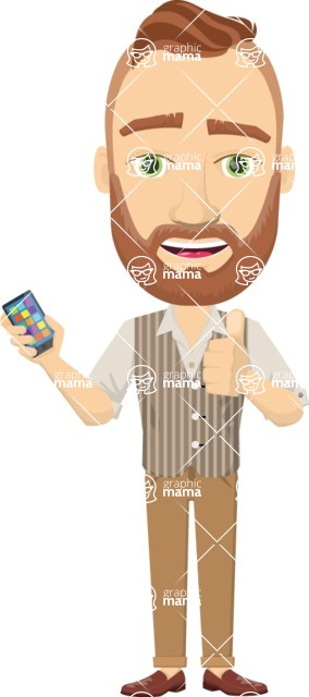 Vector graphic creation kit - all kinds of office men, with different duties, personalities, clothes, hair, accessories - Man with a smartphone