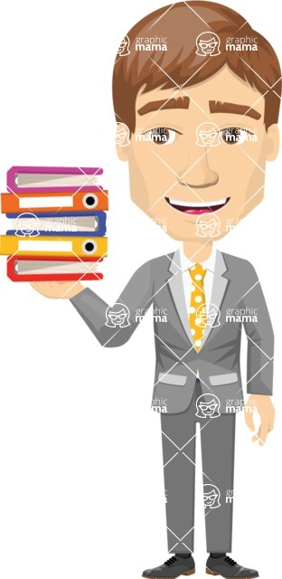 Vector graphic creation kit - all kinds of office men, with different duties, personalities, clothes, hair, accessories - Worker with files