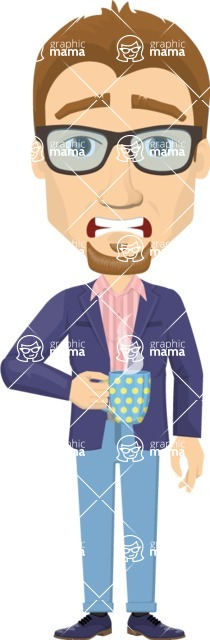 Vector graphic creation kit - all kinds of office men, with different duties, personalities, clothes, hair, accessories - Shocked businessman holding a coffee