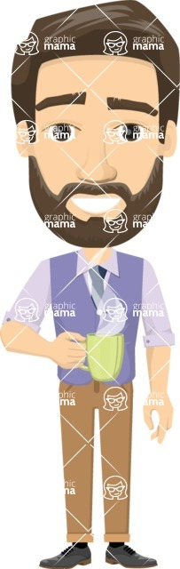 Vector graphic creation kit - all kinds of office men, with different duties, personalities, clothes, hair, accessories - Man holding a coffee mug