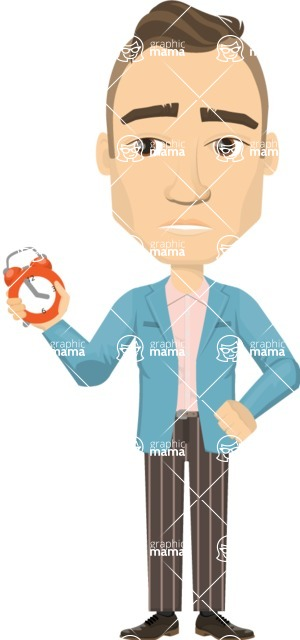 Vector graphic creation kit - all kinds of office men, with different duties, personalities, clothes, hair, accessories - Man with no time