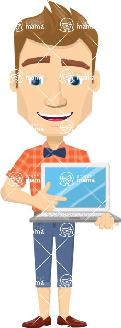 Vector graphic creation kit - all kinds of office men, with different duties, personalities, clothes, hair, accessories - Smiling man with laptop