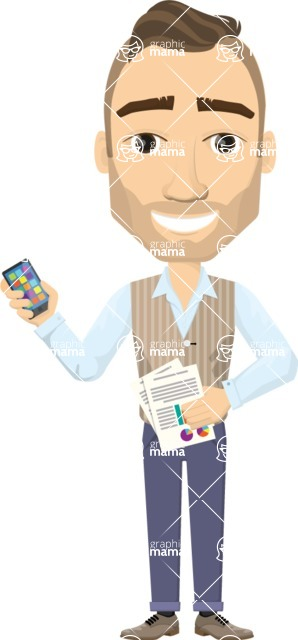 Vector graphic creation kit - all kinds of office men, with different duties, personalities, clothes, hair, accessories - Busy businessman