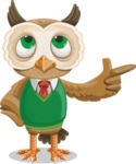 Owl Teacher Cartoon Vector Character AKA Professor CleverHoot - Point 2
