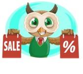 Owl Teacher Cartoon Vector Character AKA Professor CleverHoot - Shape 1