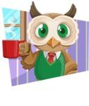 Owl Teacher Cartoon Vector Character AKA Professor CleverHoot - Shape 2