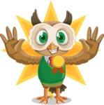 Owl Teacher Cartoon Vector Character AKA Professor CleverHoot - Shape 5
