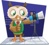 Owl Teacher Cartoon Vector Character AKA Professor CleverHoot - Shape 9
