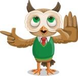 Owl Teacher Cartoon Vector Character AKA Professor CleverHoot - Direct Attention