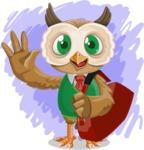 Owl Teacher Cartoon Vector Character AKA Professor CleverHoot - Shape 12