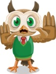 Owl Teacher Cartoon Vector Character AKA Professor CleverHoot - Stop