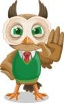 Owl Teacher Cartoon Vector Character AKA Professor CleverHoot - Stop 2