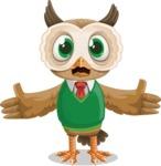 Owl Teacher Cartoon Vector Character AKA Professor CleverHoot - Stunned