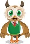 Owl Teacher Cartoon Vector Character AKA Professor CleverHoot - Shocked