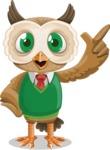 Owl Teacher Cartoon Vector Character AKA Professor CleverHoot - Attention