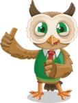 Owl Teacher Cartoon Vector Character AKA Professor CleverHoot - Silly Face