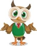Owl Teacher Cartoon Vector Character AKA Professor CleverHoot - Confused