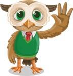 Owl Teacher Cartoon Vector Character AKA Professor CleverHoot - GoodBye