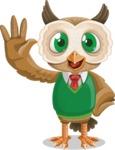 Owl Teacher Cartoon Vector Character AKA Professor CleverHoot - Hello