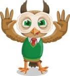 Owl Teacher Cartoon Vector Character AKA Professor CleverHoot - Making Face