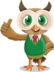 Owl Teacher Cartoon Vector Character AKA Professor CleverHoot - Thumbs Up