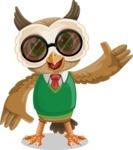Owl Teacher Cartoon Vector Character AKA Professor CleverHoot - Sunglasses