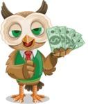 Owl Teacher Cartoon Vector Character AKA Professor CleverHoot - Show me the Money