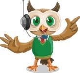 Owl Teacher Cartoon Vector Character AKA Professor CleverHoot - Support 2