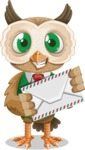 Owl Teacher Cartoon Vector Character AKA Professor CleverHoot - Letter