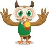 Owl Teacher Cartoon Vector Character AKA Professor CleverHoot - Ribbon
