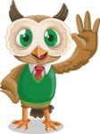 Owl Teacher Cartoon Vector Character AKA Professor CleverHoot - Wave