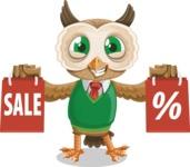 Owl Teacher Cartoon Vector Character AKA Professor CleverHoot - Sale 2