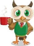 Owl Teacher Cartoon Vector Character AKA Professor CleverHoot - Coffee