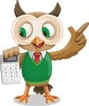 Owl Teacher Cartoon Vector Character AKA Professor CleverHoot - Calculator