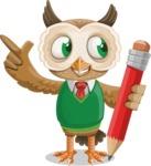 Owl Teacher Cartoon Vector Character AKA Professor CleverHoot - Pencil