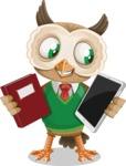 Owl Teacher Cartoon Vector Character AKA Professor CleverHoot - Book and iPad