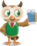 Owl Teacher Cartoon Vector Character AKA Professor CleverHoot - iPhone