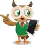 Owl Teacher Cartoon Vector Character AKA Professor CleverHoot - iPad 3