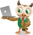 Owl Teacher Cartoon Vector Character AKA Professor CleverHoot - Laptop 1