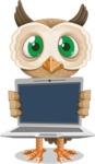 Owl Teacher Cartoon Vector Character AKA Professor CleverHoot - Laptop 2