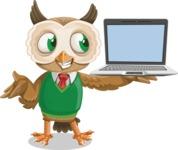 Owl Teacher Cartoon Vector Character AKA Professor CleverHoot - Laptop 3