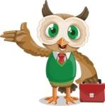 Owl Teacher Cartoon Vector Character AKA Professor CleverHoot - Briefcase 2